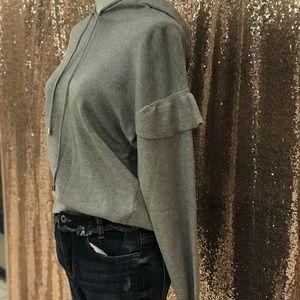 Sweaters - Grey Ruffled Sleeve Hoodie